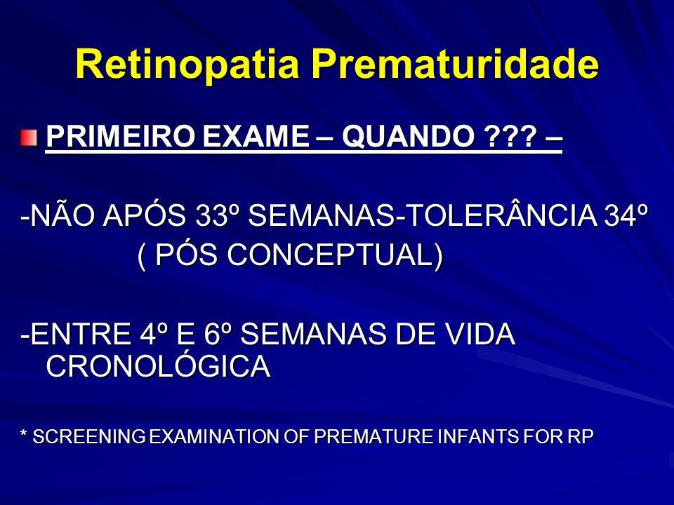 Retinopatia Prematuridade PRIMEIRO EXAME – QUANDO ??.