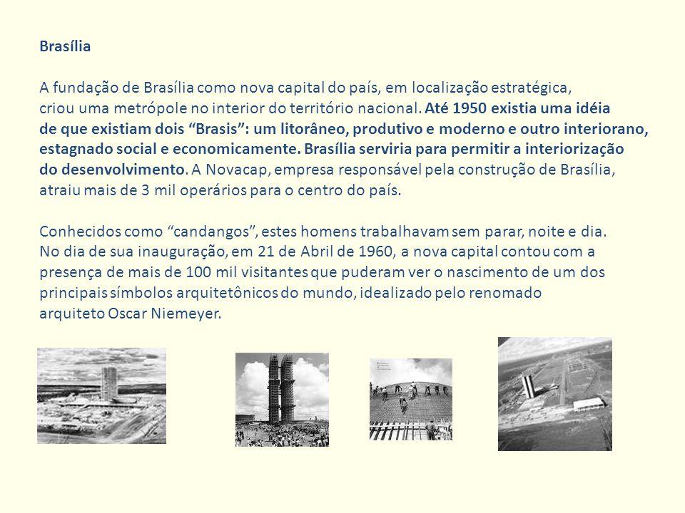 Brasília A fundação de Brasília como nova capital do país, em localização estratégica, criou uma metrópole no interior do território nacional. Até 195