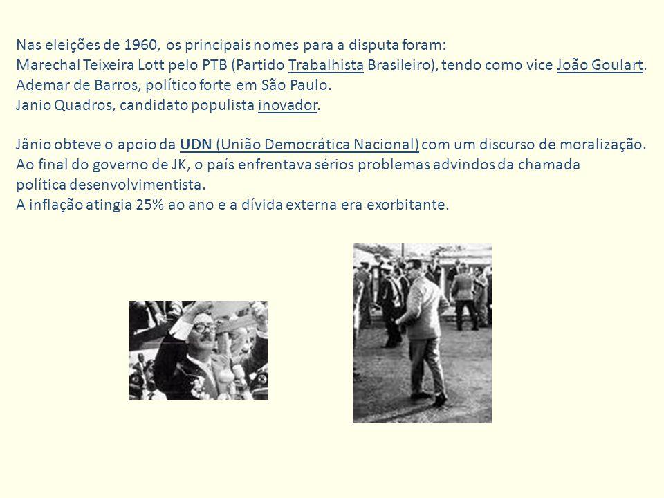 Nas eleições de 1960, os principais nomes para a disputa foram: Marechal Teixeira Lott pelo PTB (Partido Trabalhista Brasileiro), tendo como vice João