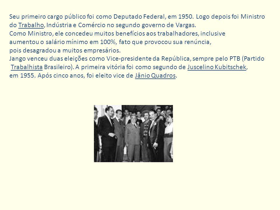 Seu primeiro cargo público foi como Deputado Federal, em 1950. Logo depois foi Ministro do Trabalho, Indústria e Comércio no segundo governo de Vargas