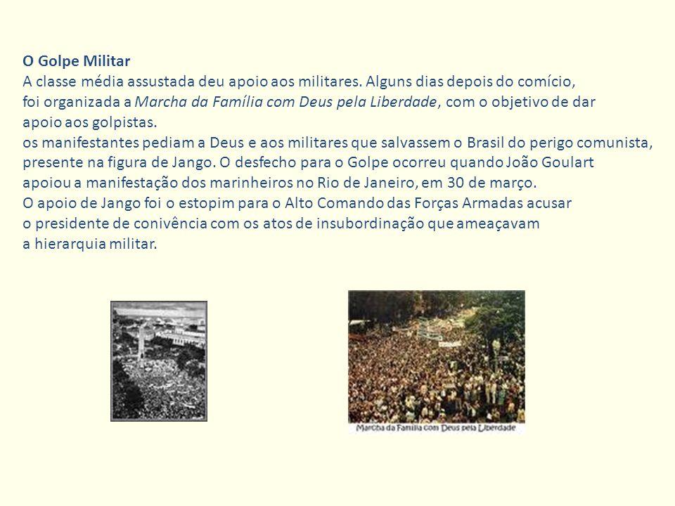 O Golpe Militar A classe média assustada deu apoio aos militares. Alguns dias depois do comício, foi organizada a Marcha da Família com Deus pela Libe
