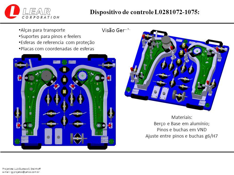 Projetista: Luiz Gustavo S. Steinhoff e-mail: lg.projetos@yahoo.com.br Dispositivo de controle L0281072-1075: Visão Geral: Materiais: Berço e Base em