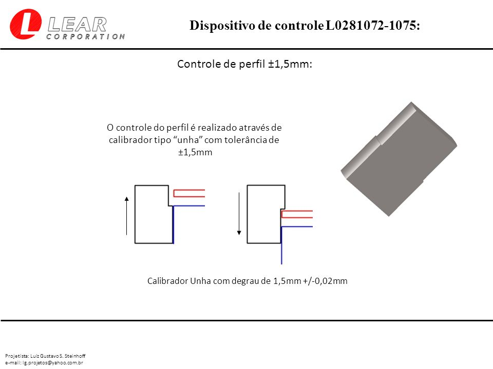 Projetista: Luiz Gustavo S. Steinhoff e-mail: lg.projetos@yahoo.com.br Dispositivo de controle L0281072-1075: Controle de perfil ±1,5mm: O controle do