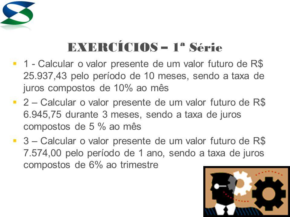 Resolução 1) VP = ___VF____ (1 + i)ⁿ VP = 25.937,43/(1+0,10) 10 VP = 25.937,43/ ( 1,10 ) 10 VP = 25.937,43/ 2,593743 Resp: R$ 10.000,00 Calcular o valor presente de um valor futuro de R$ 25.937,43 pelo período de 10 meses, sendo a taxa de juros compostos de 10% ao mês