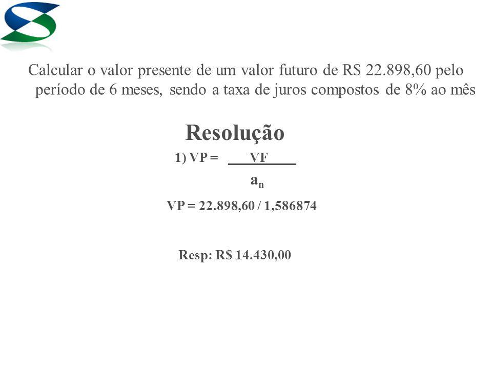 Resolução 1) VP = ___VF____ a n VP = 22.898,60 / 1,586874 Resp: R$ 14.430,00 Calcular o valor presente de um valor futuro de R$ 22.898,60 pelo período