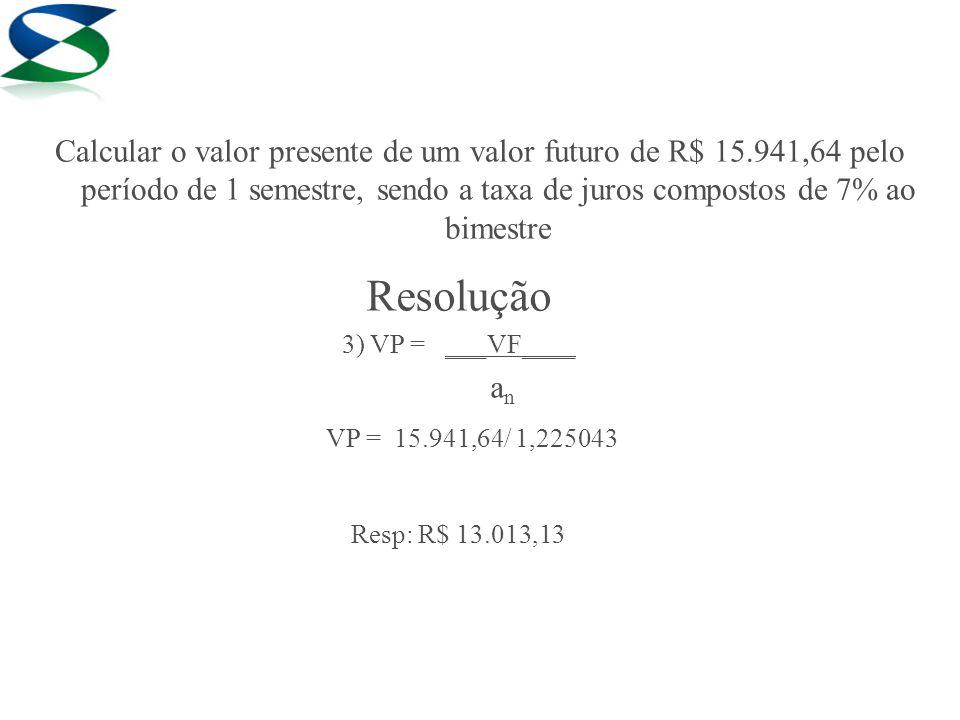 Resolução 3) VP = ___VF____ a n VP = 15.941,64/ 1,225043 Resp: R$ 13.013,13 Calcular o valor presente de um valor futuro de R$ 15.941,64 pelo período