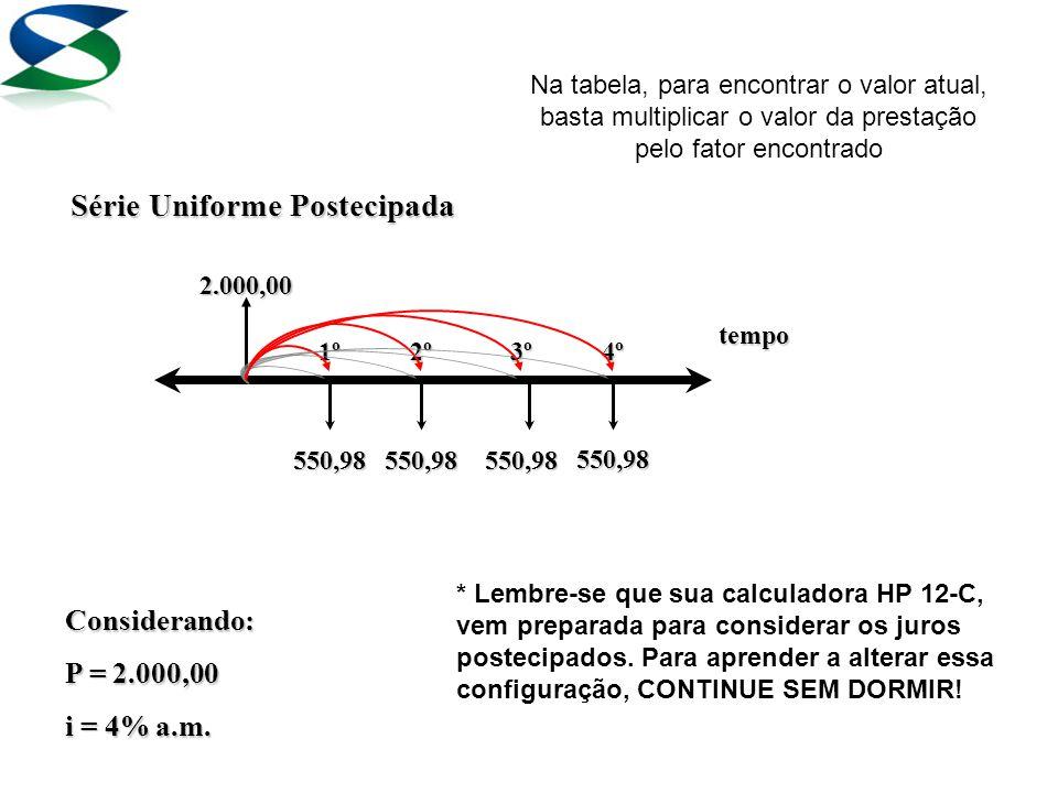 2.000,00 1º2º3º4º tempo Série Uniforme Postecipada 550,98550,98550,98 550,98 Considerando: P = 2.000,00 i = 4% a.m.