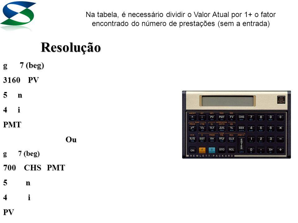 3 – Verificar se é mais vantajoso adquirir um computador por R$ 3.160,00 (à vista) ou em 1+4vezes de R$ 700,00, sendo a taxa de juros praticada no mer