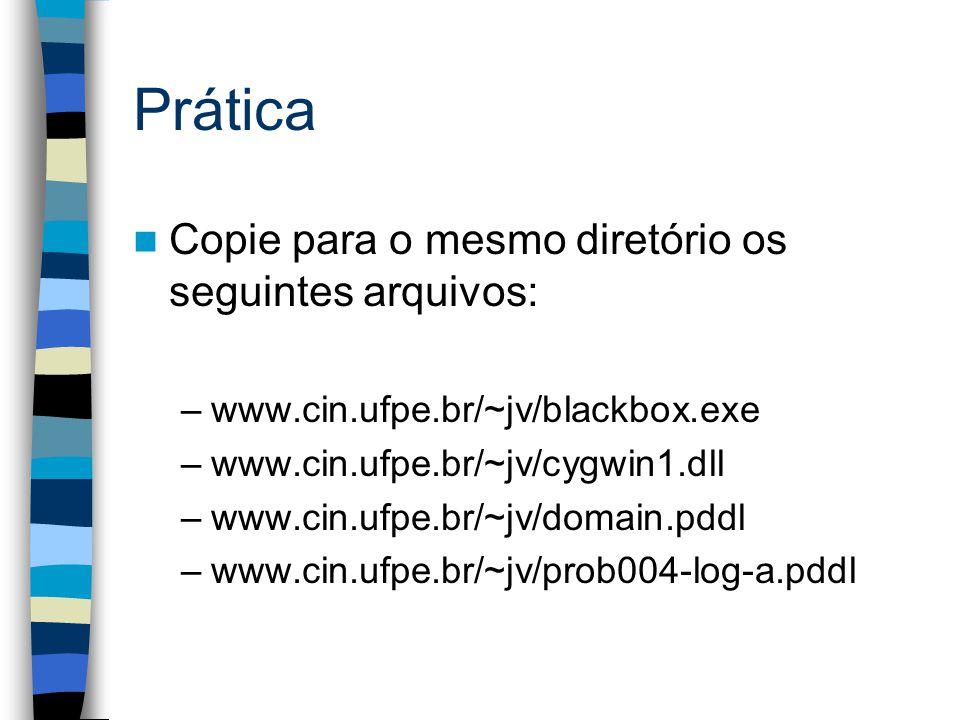 Prática Copie para o mesmo diretório os seguintes arquivos: –www.cin.ufpe.br/~jv/blackbox.exe –www.cin.ufpe.br/~jv/cygwin1.dll –www.cin.ufpe.br/~jv/domain.pddl –www.cin.ufpe.br/~jv/prob004-log-a.pddl