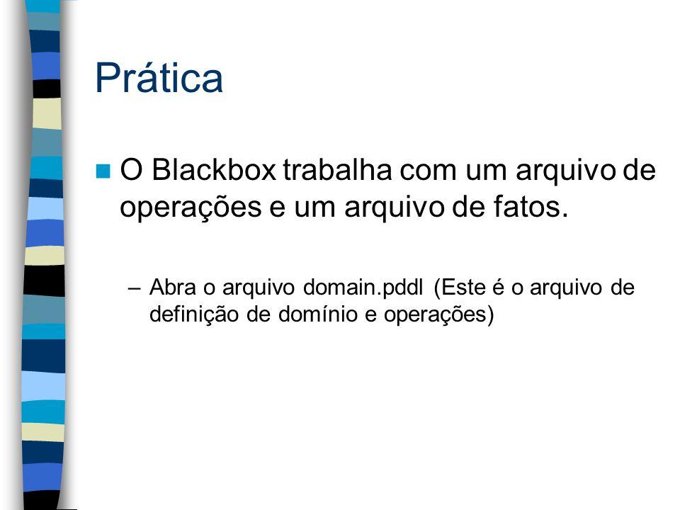Prática O Blackbox trabalha com um arquivo de operações e um arquivo de fatos. –Abra o arquivo domain.pddl (Este é o arquivo de definição de domínio e