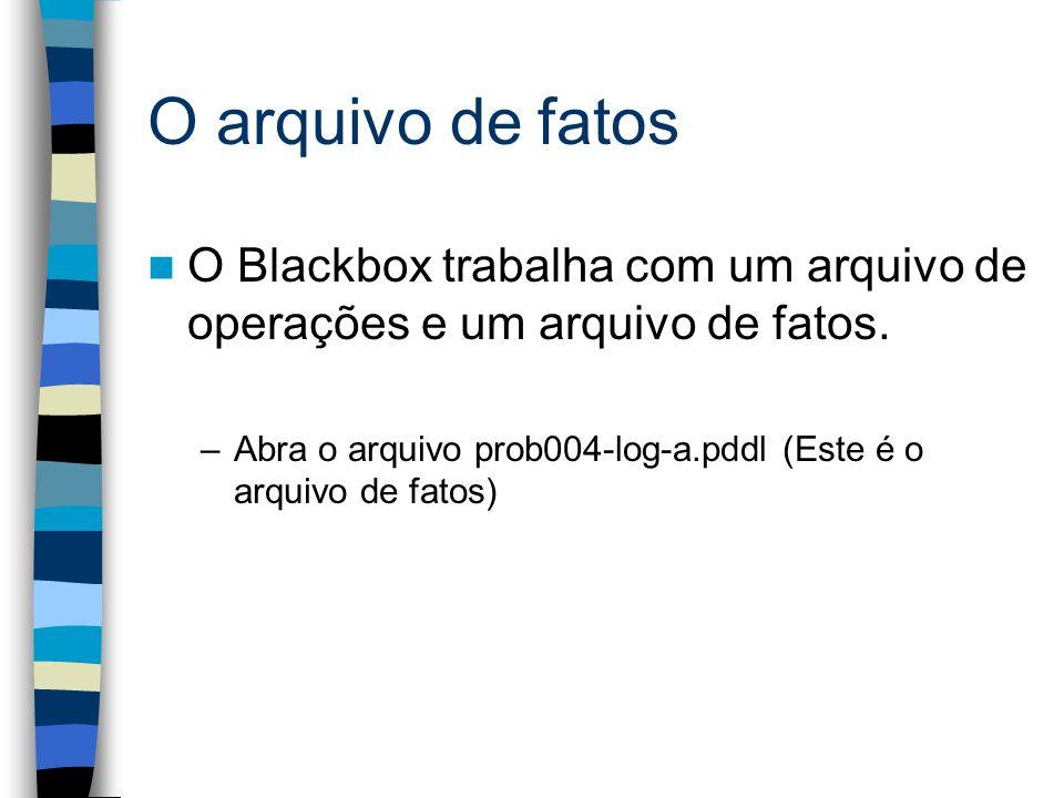 O arquivo de fatos O Blackbox trabalha com um arquivo de operações e um arquivo de fatos. –Abra o arquivo prob004-log-a.pddl (Este é o arquivo de fato