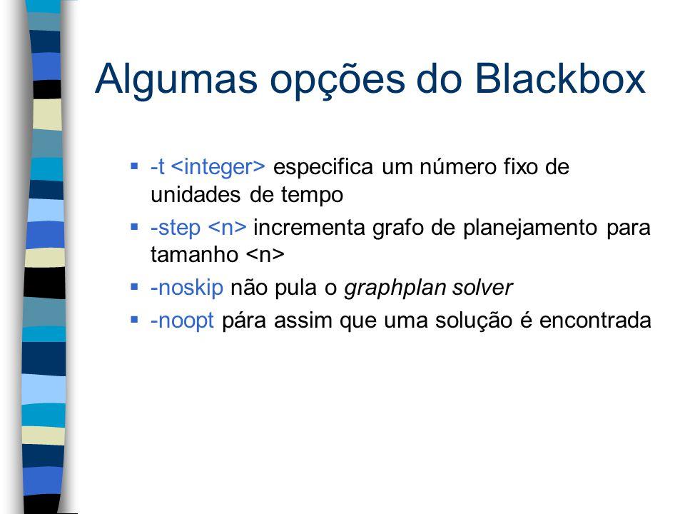 Algumas opções do Blackbox  -t especifica um número fixo de unidades de tempo  -step incrementa grafo de planejamento para tamanho  -noskip não pula o graphplan solver  -noopt pára assim que uma solução é encontrada