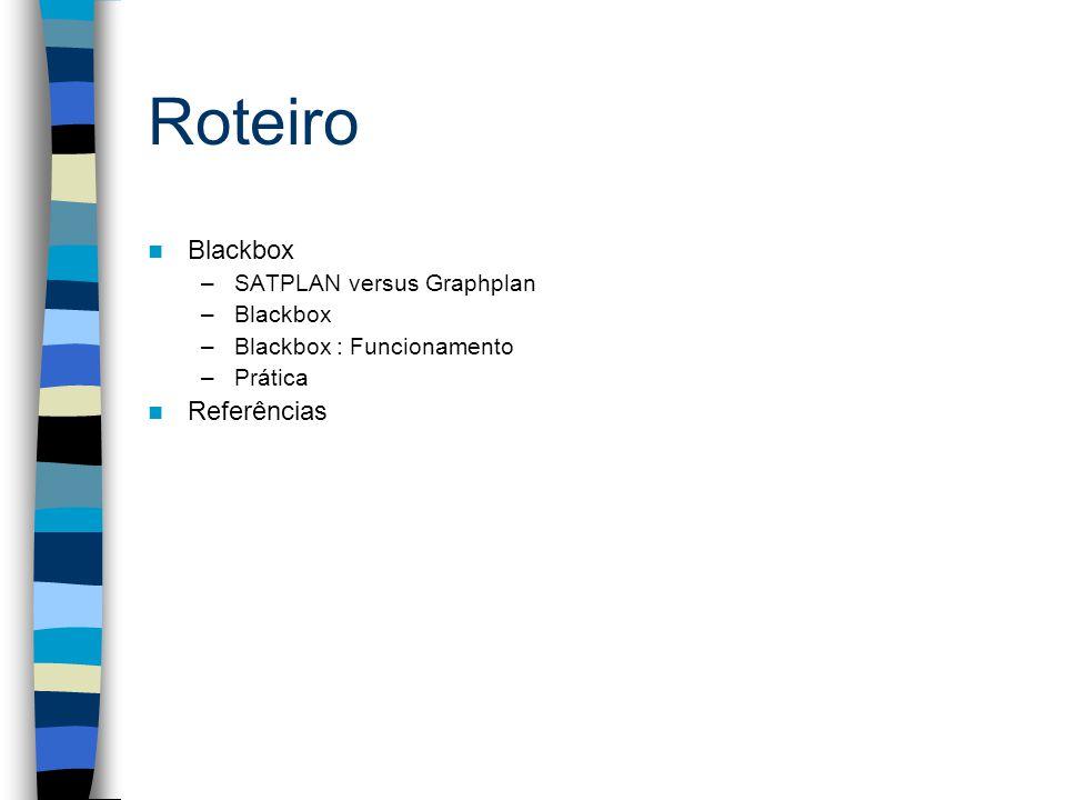 Roteiro Blackbox –SATPLAN versus Graphplan –Blackbox –Blackbox : Funcionamento –Prática Referências