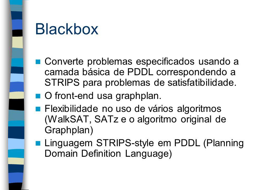 Blackbox Converte problemas especificados usando a camada básica de PDDL correspondendo a STRIPS para problemas de satisfatibilidade. O front-end usa