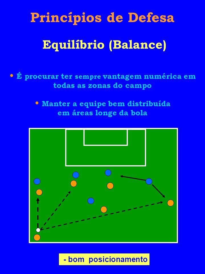 Princípios de Defesa Equilíbrio (Balance) - bom posicionamento É procurar ter sempre vantagem numérica em todas as zonas do campo Manter a equipe bem distribuída em áreas longe da bola