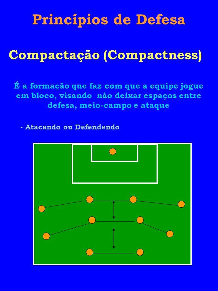 Princípios de Defesa Compactação (Compactness) É a formação que faz com que a equipe jogue em bloco, visando não deixar espaços entre defesa, meio-campo e ataque - Atacando ou Defendendo