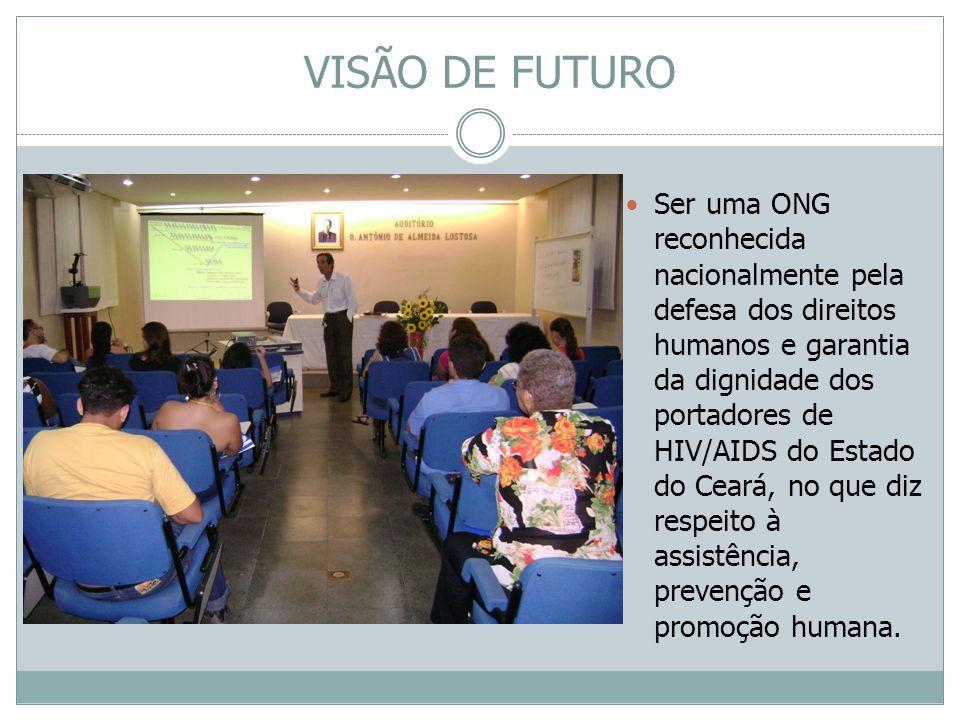 VISÃO DE FUTURO Ser uma ONG reconhecida nacionalmente pela defesa dos direitos humanos e garantia da dignidade dos portadores de HIV/AIDS do Estado do