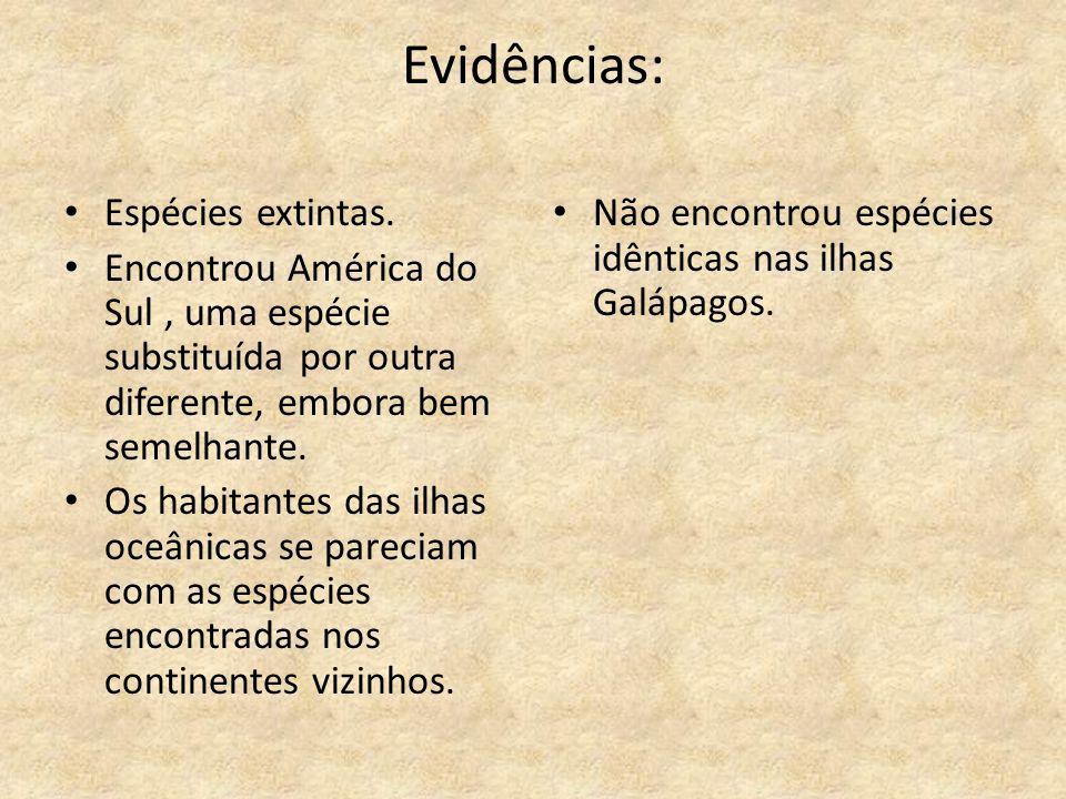 Evidências: Espécies extintas. Encontrou América do Sul, uma espécie substituída por outra diferente, embora bem semelhante. Os habitantes das ilhas o
