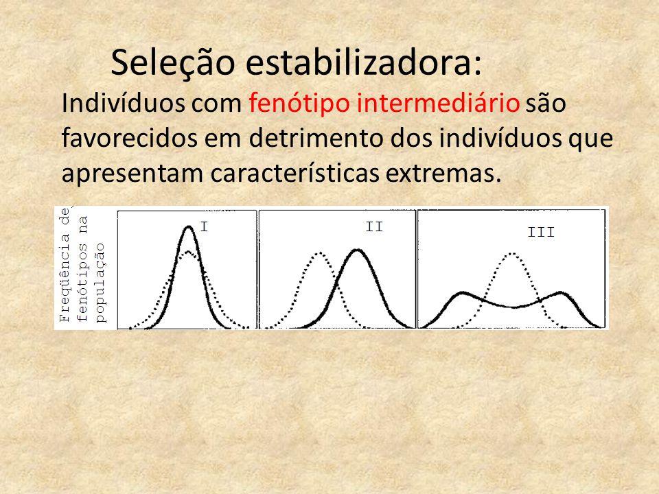 Seleção estabilizadora: Indivíduos com fenótipo intermediário são favorecidos em detrimento dos indivíduos que apresentam características extremas.