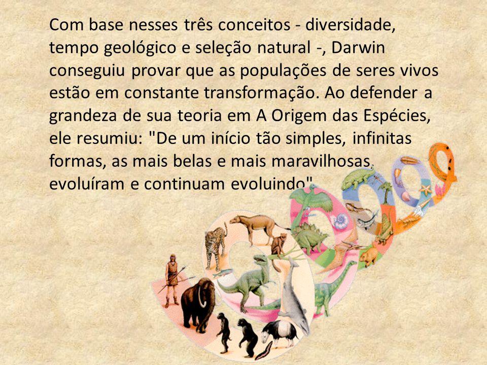 Com base nesses três conceitos - diversidade, tempo geológico e seleção natural -, Darwin conseguiu provar que as populações de seres vivos estão em c