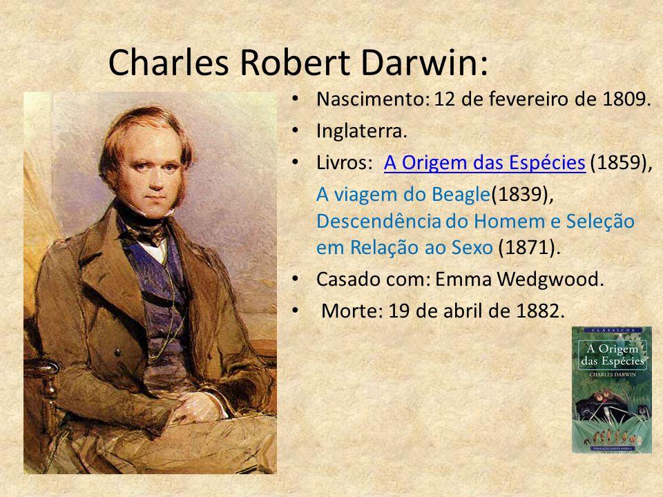 Charles Robert Darwin: Nascimento: 12 de fevereiro de 1809. Inglaterra. Livros: A Origem das Espécies (1859),A Origem das Espécies A viagem do Beagle(