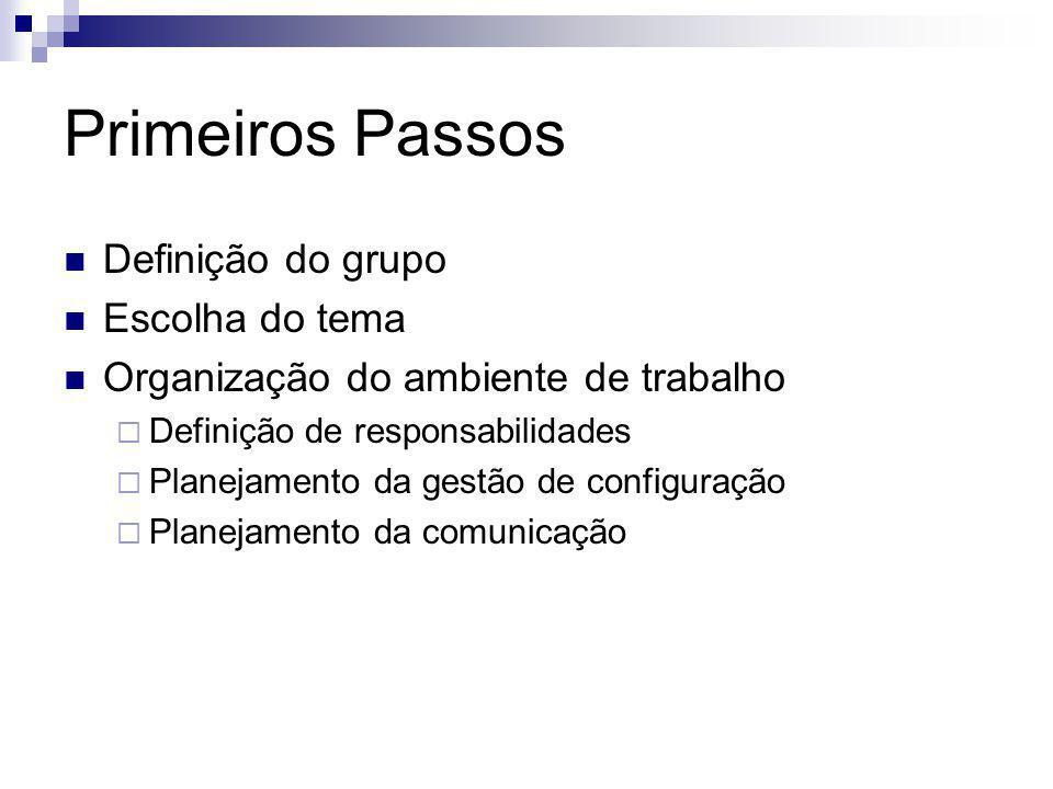 Primeiros Passos Definição do grupo Escolha do tema Organização do ambiente de trabalho  Definição de responsabilidades  Planejamento da gestão de c