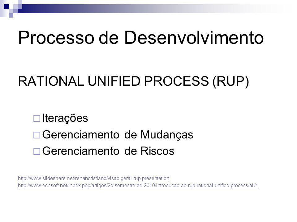 Processo de Desenvolvimento RATIONAL UNIFIED PROCESS (RUP)  Iterações  Gerenciamento de Mudanças  Gerenciamento de Riscos http://www.slideshare.net
