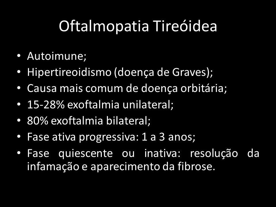 Oftalmopatia Tireóidea Autoimune; Hipertireoidismo (doença de Graves); Causa mais comum de doença orbitária; 15-28% exoftalmia unilateral; 80% exoftal