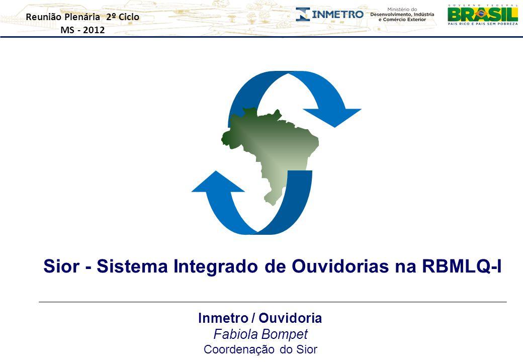 Sior - Sistema Integrado de Ouvidorias na RBMLQ-I Reunião Plenária 2º Ciclo MS - 2012 Inmetro / Ouvidoria Fabiola Bompet Coordenação do Sior