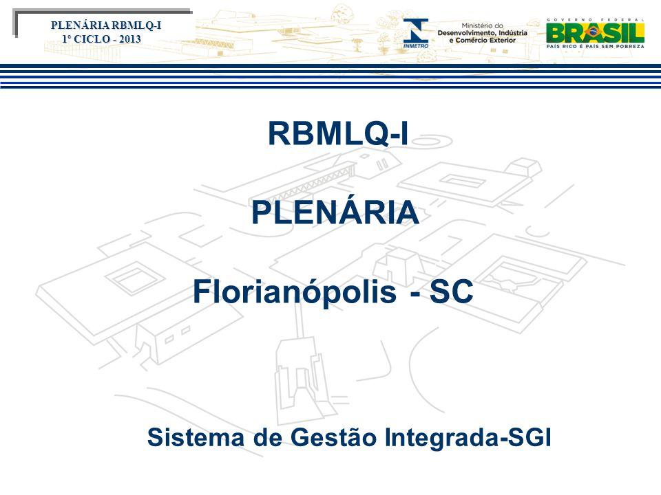 Título do evento RBMLQ-I PLENÁRIA Florianópolis - SC Sistema de Gestão Integrada-SGI PLENÁRIA RBMLQ-I PLENÁRIA RBMLQ-I 1º CICLO - 2013