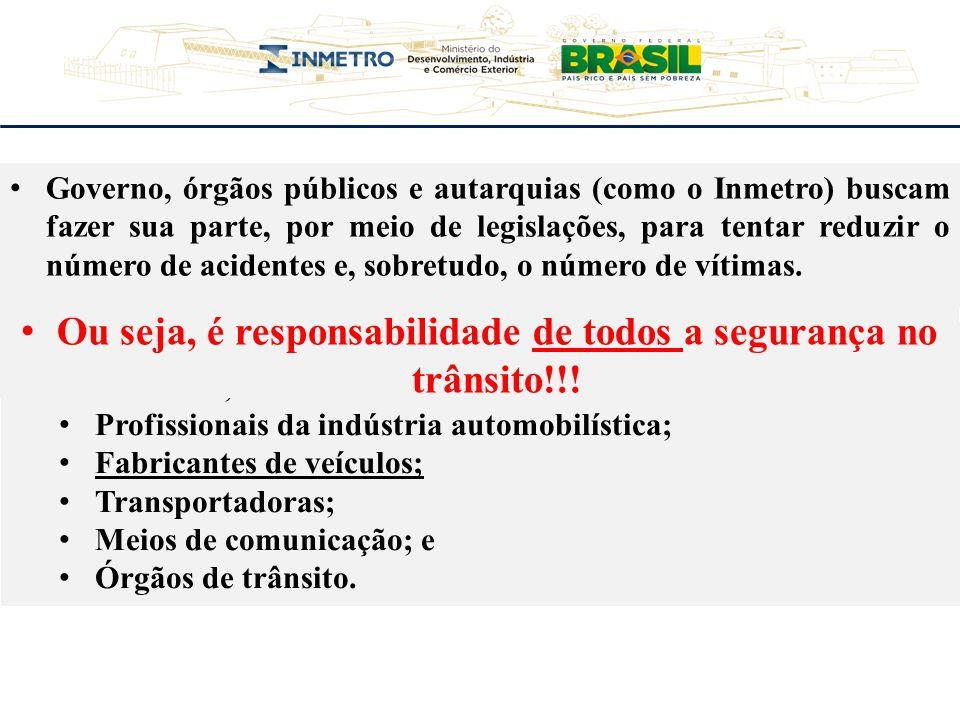 Governo, órgãos públicos e autarquias (como o Inmetro) buscam fazer sua parte, por meio de legislações, para tentar reduzir o número de acidentes e, s