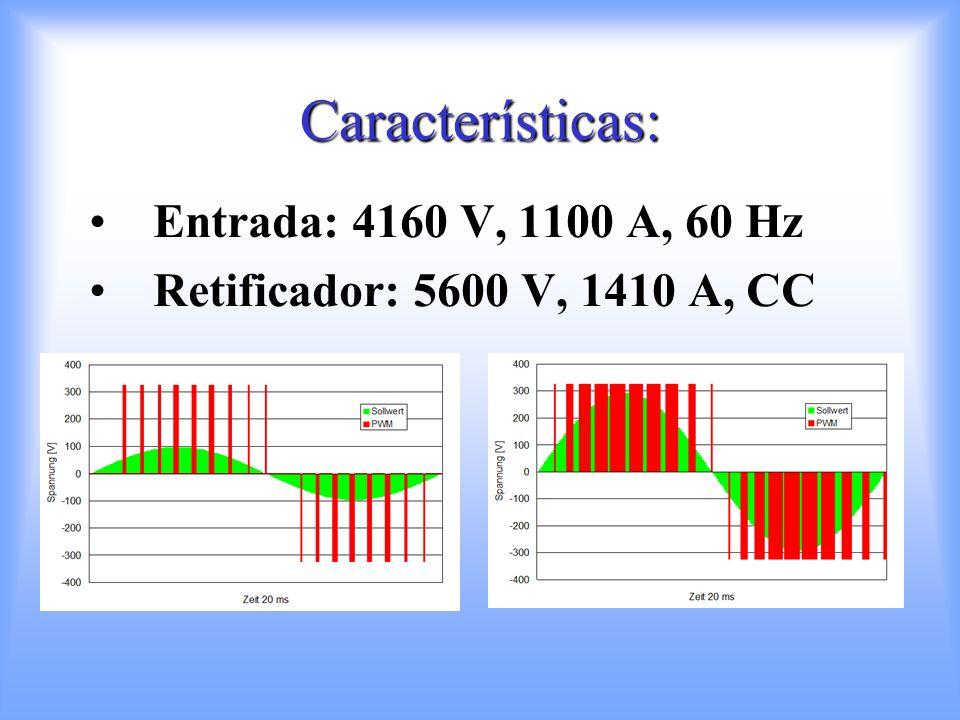 Características: Entrada: 4160 V, 1100 A, 60 Hz Retificador: 5600 V, 1410 A, CC
