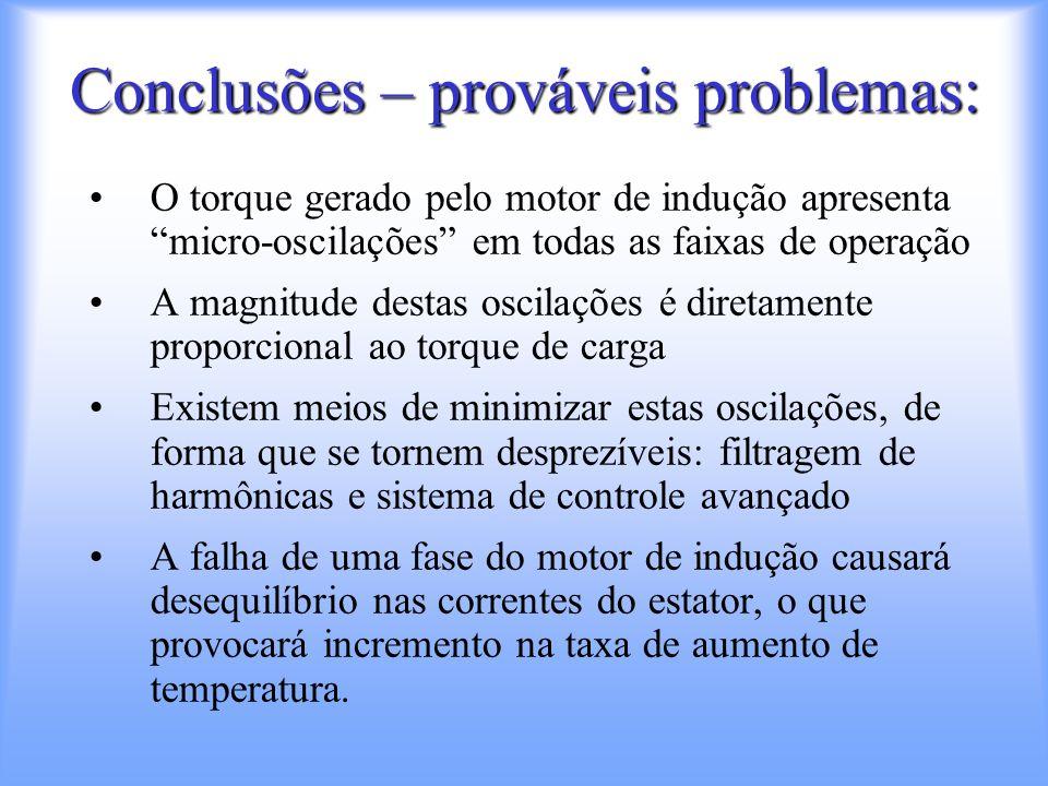 """Conclusões – prováveis problemas: O torque gerado pelo motor de indução apresenta """"micro-oscilações"""" em todas as faixas de operação A magnitude destas"""