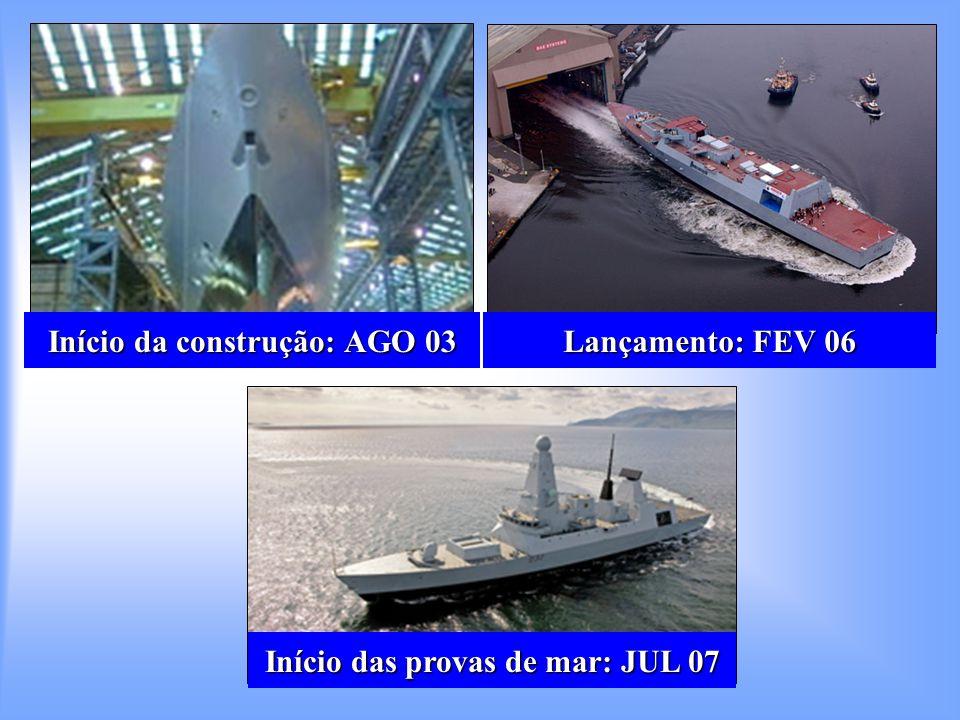 Início da construção: AGO 03 Lançamento: FEV 06 Início das provas de mar: JUL 07