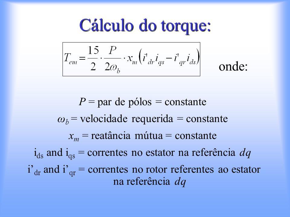 Algoritmo usando matriz 15x15: Input: –Voltagem no estator: Vs [15x1] –Impedância no estator:Xs [15x15] –Impedância no rotor: Xr [15x15] –Reatância mútua: Xsr [15x15] –Velocidade do eixo: N [1x1] –Torque de carga: T [1x1] Output : –Correntes no estator: Is [15x1] –Correntes no rotor:Ir [15x1] –Velocidade do eixo:N [1x1] –Torque eletromagnético Te [1x1]