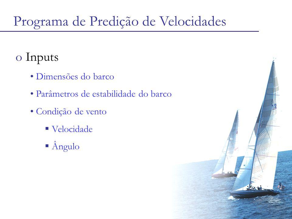 Programa de Predição de Velocidades o Inputs Dimensões do barco Parâmetros de estabilidade do barco Condição de vento  Velocidade  Ângulo