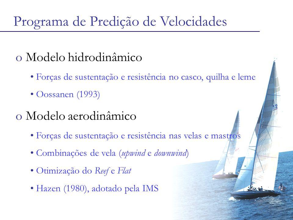 Programa de Predição de Velocidades o Modelo hidrodinâmico Forças de sustentação e resistência no casco, quilha e leme Oossanen (1993) o Modelo aerodinâmico Forças de sustentação e resistência nas velas e mastros Combinações de vela (upwind e downwind) Otimização do Reef e Flat Hazen (1980), adotado pela IMS