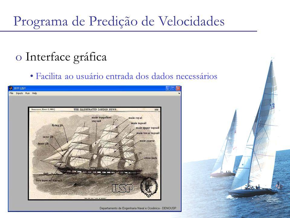 Programa de Predição de Velocidades o Interface gráfica Facilita ao usuário entrada dos dados necessários