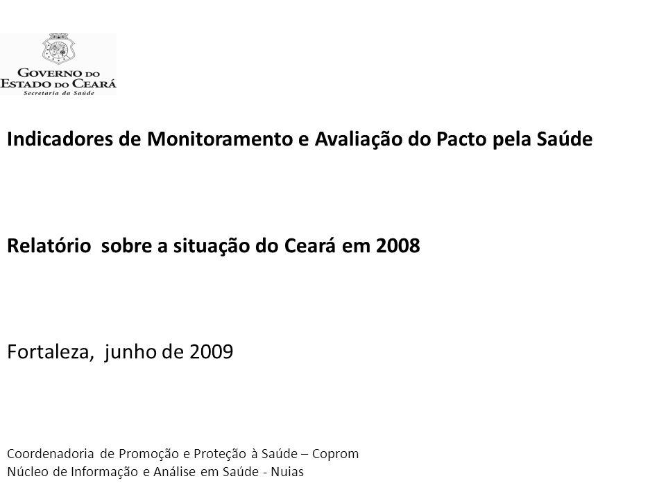 Indicadores de Monitoramento e Avaliação do Pacto pela Saúde Relatório sobre a situação do Ceará em 2008 Fortaleza, junho de 2009 Coordenadoria de Pro