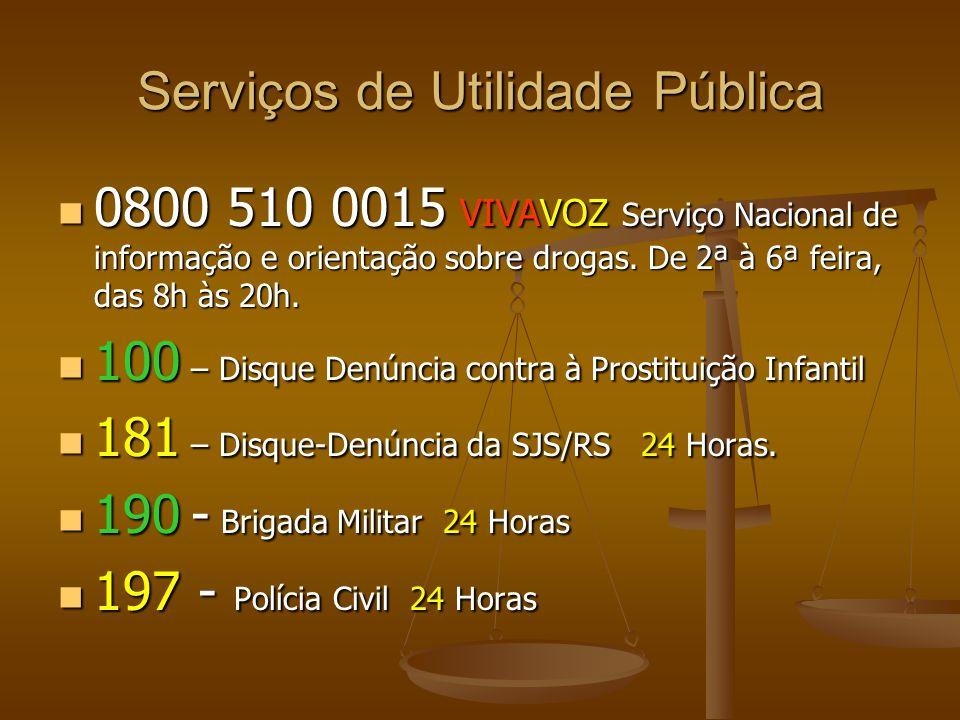 Serviços de Utilidade Pública 0800 510 0015 VIVAVOZ Serviço Nacional de informação e orientação sobre drogas. De 2ª à 6ª feira, das 8h às 20h. 0800 51
