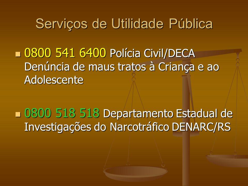 Serviços de Utilidade Pública 0800 541 6400 Polícia Civil/DECA Denúncia de maus tratos à Criança e ao Adolescente 0800 541 6400 Polícia Civil/DECA Den