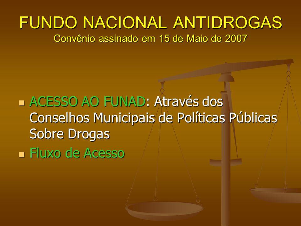 FUNDO NACIONAL ANTIDROGAS Convênio assinado em 15 de Maio de 2007 ACESSO AO FUNAD: Através dos Conselhos Municipais de Políticas Públicas Sobre Drogas
