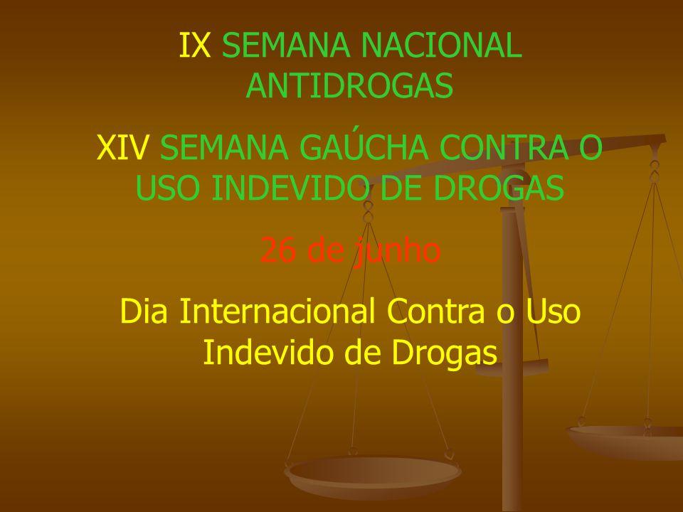 IX SEMANA NACIONAL ANTIDROGAS XIV SEMANA GAÚCHA CONTRA O USO INDEVIDO DE DROGAS 26 de junho Dia Internacional Contra o Uso Indevido de Drogas