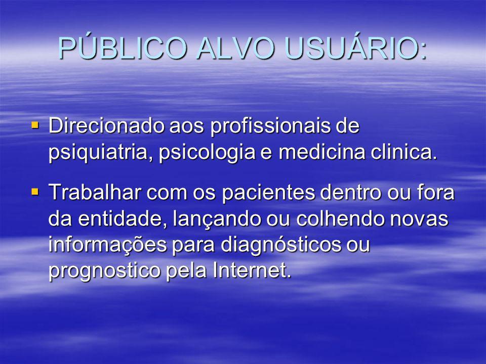 PÚBLICO ALVO USUÁRIO:  Direcionado aos profissionais de psiquiatria, psicologia e medicina clinica.  Trabalhar com os pacientes dentro ou fora da en
