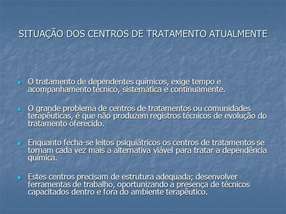 SITUAÇÃO DOS CENTROS DE TRATAMENTO ATUALMENTE O tratamento de dependentes químicos, exige tempo e acompanhamento técnico, sistemática e continuamente.