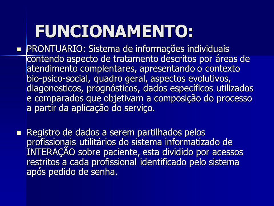 PRONTUARIO: Sistema de informações individuais contendo aspecto de tratamento descritos por áreas de atendimento complentares, apresentando o contexto
