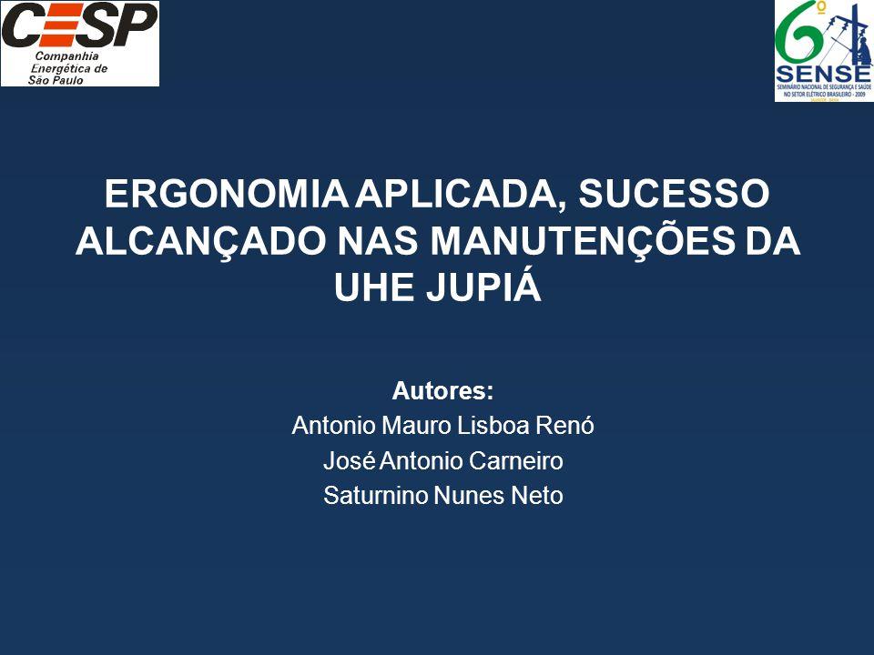 ERGONOMIA APLICADA, SUCESSO ALCANÇADO NAS MANUTENÇÕES DA UHE JUPIÁ Autores: Antonio Mauro Lisboa Renó José Antonio Carneiro Saturnino Nunes Neto