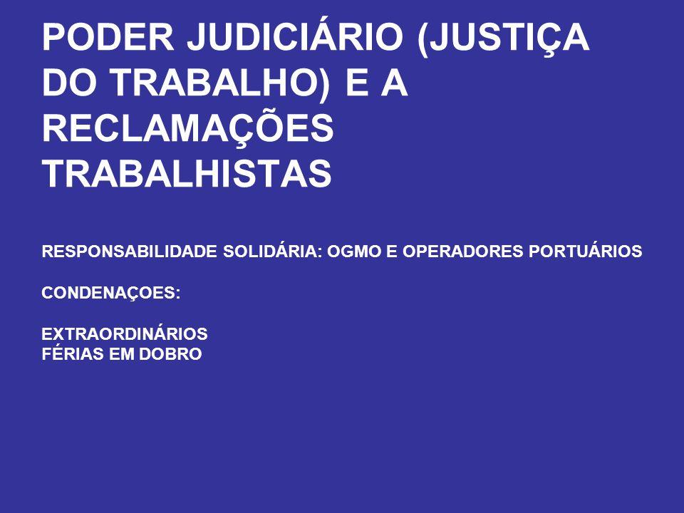 PODER JUDICIÁRIO (JUSTIÇA DO TRABALHO) E A RECLAMAÇÕES TRABALHISTAS RESPONSABILIDADE SOLIDÁRIA: OGMO E OPERADORES PORTUÁRIOS CONDENAÇOES: EXTRAORDINÁR