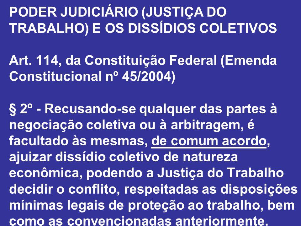 PODER JUDICIÁRIO (JUSTIÇA DO TRABALHO) E OS DISSÍDIOS COLETIVOS Art. 114, da Constituição Federal (Emenda Constitucional nº 45/2004) § 2º - Recusando-