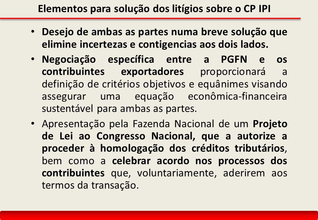 Elementos para solução dos litígios sobre o CP IPI Desejo de ambas as partes numa breve solução que elimine incertezas e contigencias aos dois lados.